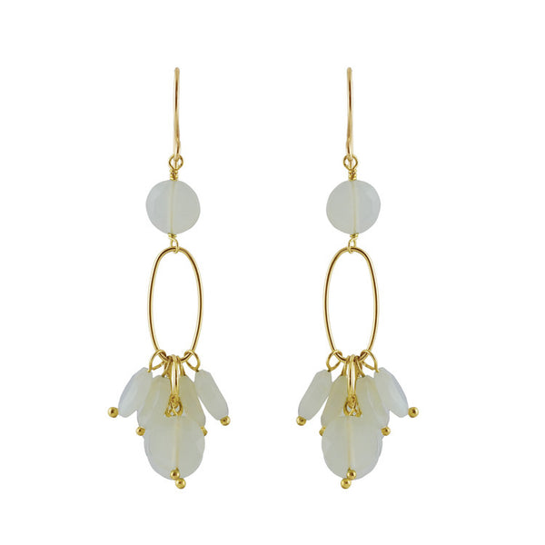 Semi-precious White Moonstone Drop Earring