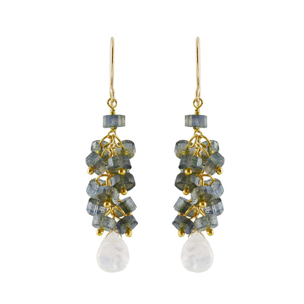 Semi-precious Faceted Labradorite & Rainbow Moonstone Delicate Drop Earring