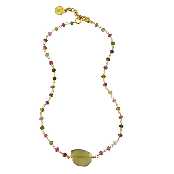 "Semi-precious Watermelon Tourmaline Rosary with Lemon Citrine Nugget Choker 14"" drop with 2"" extender"
