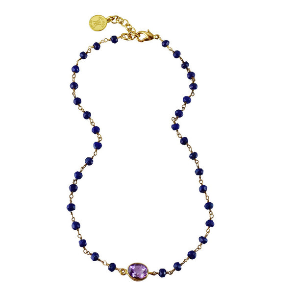 "Semi-precious Lapis Rosary with 18k Gold Plated Sterling Silver Amethyst Bezel Set Choker 14"" drop with 2"" extender"