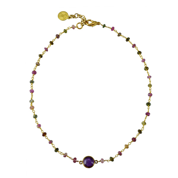 "Semi-precious Watermelon Tourmaline Rosary with Amethyst Round Bezel Set Choker 14"" drop with 2"" extender"
