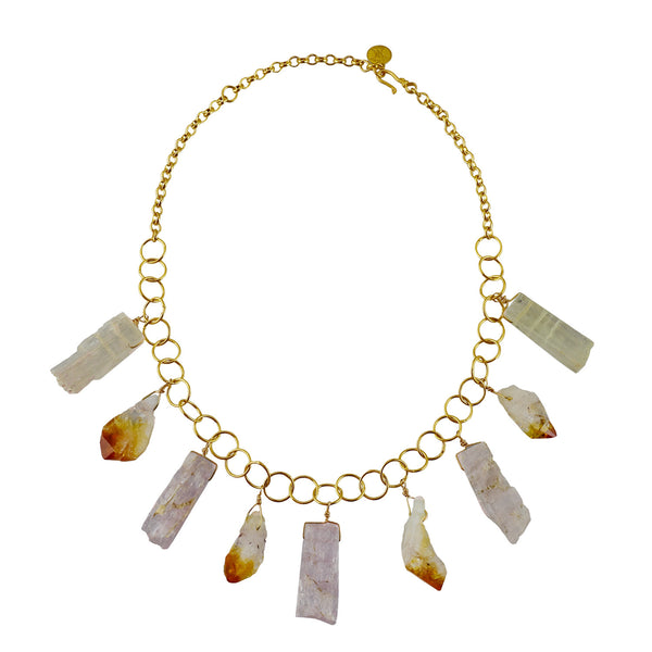 Semi-precious Citrine & Kunzite Drop Circle Chain Necklace
