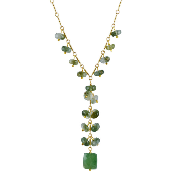 Semi-precious Catseye Rondel & Green Adventurine Choker Y Necklace