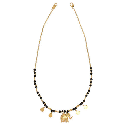 Chan Luu The Last Animals Collection - Black Bead Short Necklace with Elephant Charm