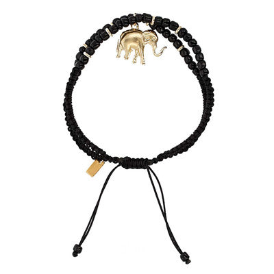 Chan Luu The Last Animals Collection - Black Double Strand Bracelet with Elephant Charm