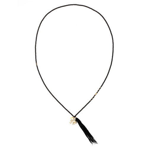 Chan Luu The Last Animals Collection - Black Sequin long Tassel Necklace with Elephant Charm