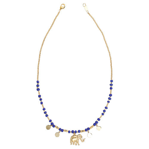 Chan Luu The Last Animals Collection - Blue Bead Short Necklace with Elephant Charm