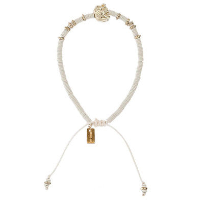 Chan Luu The Last Animals Collection - White Sequin Bracelet with Elephant Charm