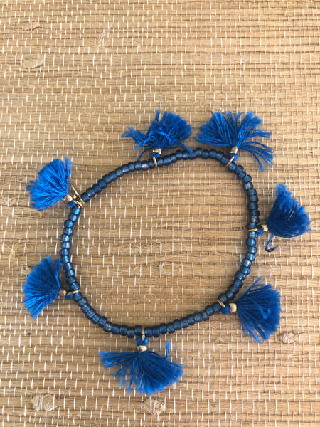 Bead tassel stretch bracelet navy blue