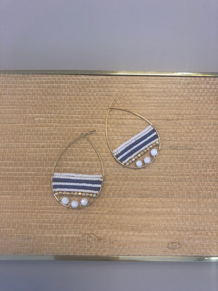 Courteney white coral and navy stripe Delica seed beads teardrop hoops