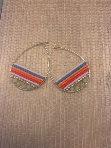 Dante multicolored Jasper and Delica seed bead teardrop hoops