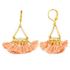 Tassel fan earring - rose pink cotton tassel on gold plated lever back