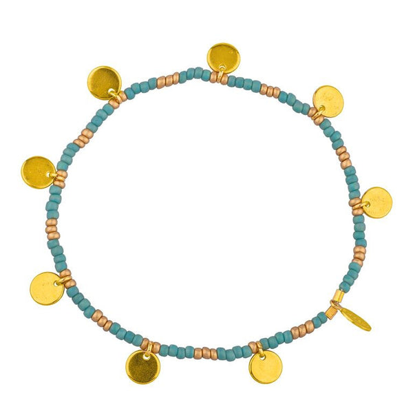 Shashi bead and disk stretch bracelet