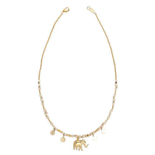 Chan Luu The Last Animals Collection - White Bead Short Necklace with Elephant Charm