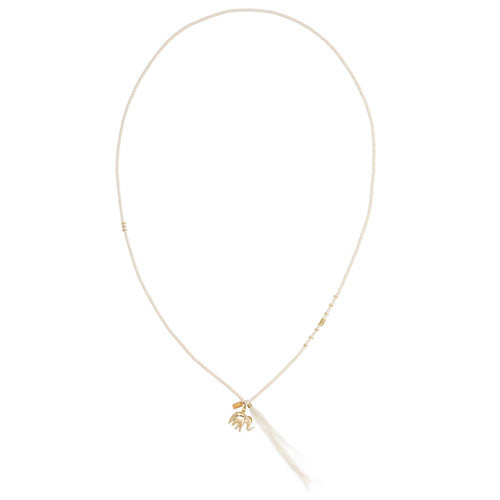 Chan Luu The Last Animals Collection - White Sequin long Tassel Necklace with Elephant Charm