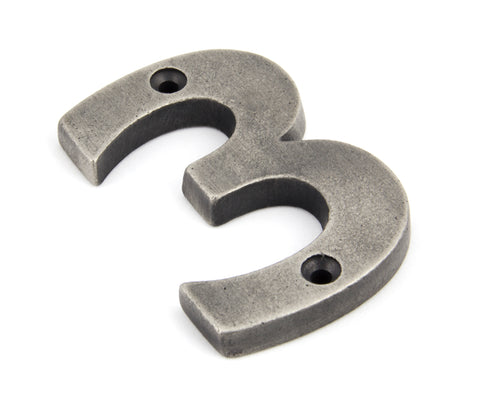 Antique Pewter Numeral 3