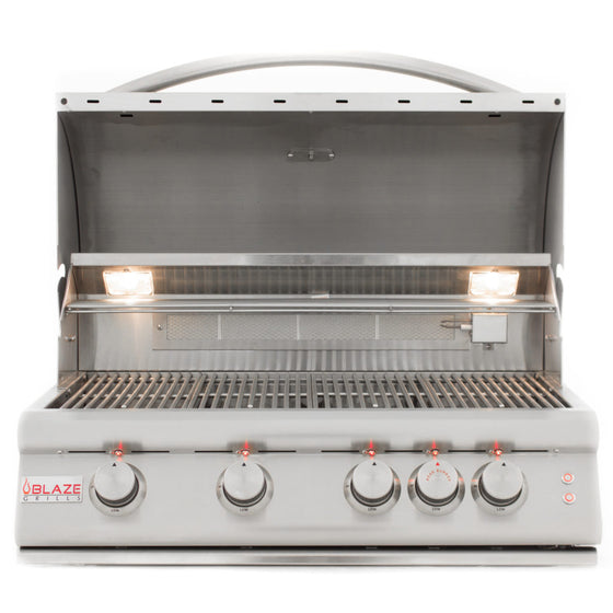 BLZ-4LTE(LP/NG) Blaze 32 Inch 4-Burner LTE Gas Grill With Rear Burner and Built-in Lighting System