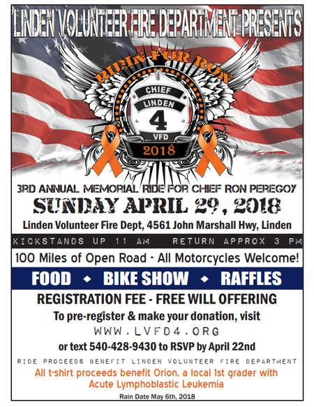 April 29, 2018 - 3rd Annual Ridin' for Ron Memorial Ride