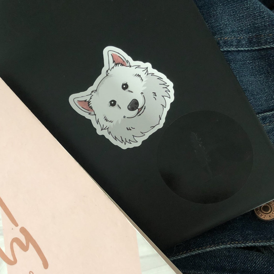 laptop sticker, samoyed sticker, vinyl sticker,