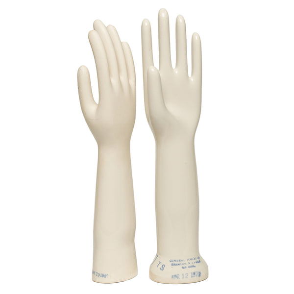 """Hands Up"" Industrial porcelain glove forms"
