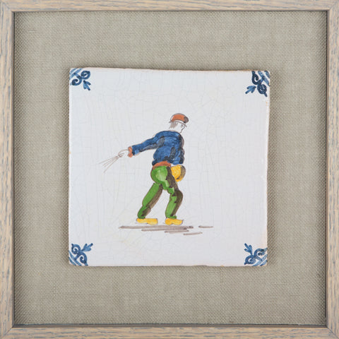The  Farmer,   Vintage Delft Tile
