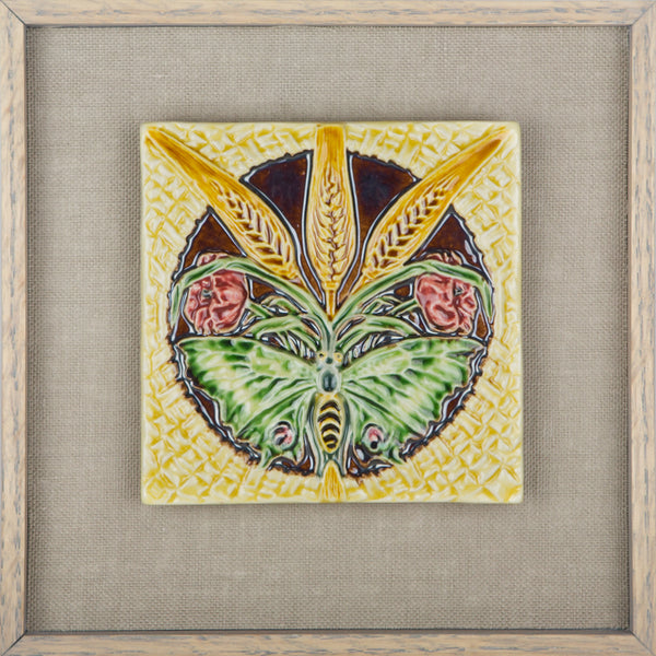 Butterfly and Wheat  Portuguese Art Nouveau Tile