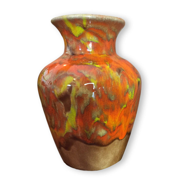 Vintage Vase in Brilliant Orange Drip Glaze