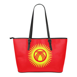 Kyrgyzstan Kyrgyz premium leather tote bag red
