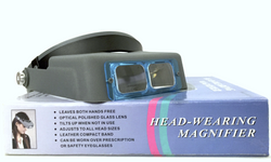 Headband Magnifier Glasses - Comfortable, Adjustable Head Mounted Visor with 4 Interchangeable Glass Lenses (1.5x/2.5x/3x/3.5x) for Exact Magnification Need and Hands-free Wearing Like Reading