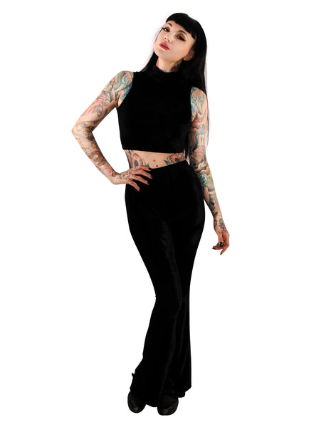 3396 Black Velvet Bell Bottoms