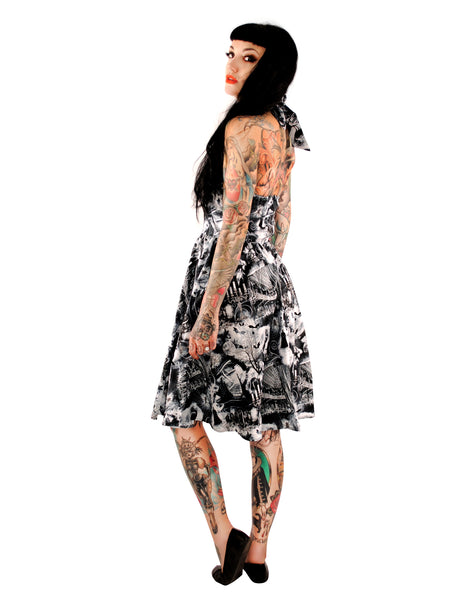 3407 Ghouls Halter Dress - Small & XL Only
