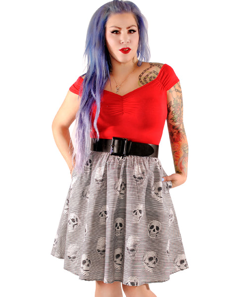 3638 Skulls & Stripes Aline Skirt