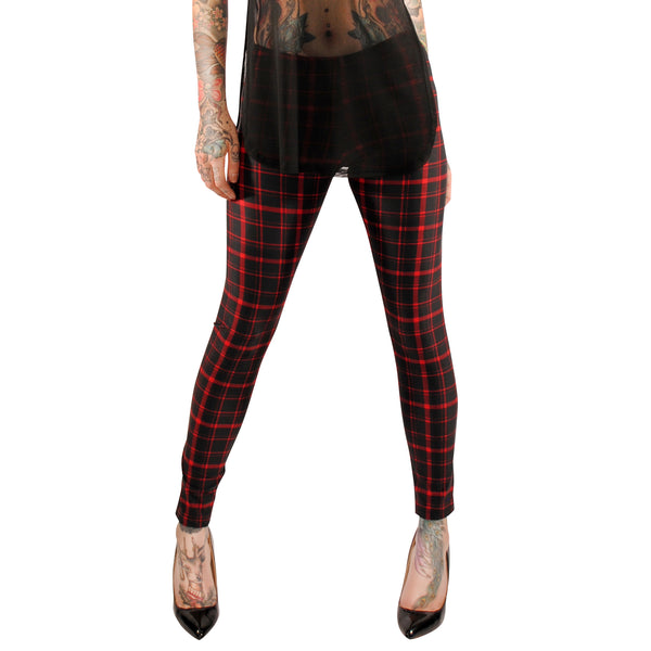 3578 Red Plaid Leggings