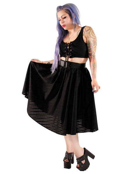 3671 Madison Skirt in Black Stripes