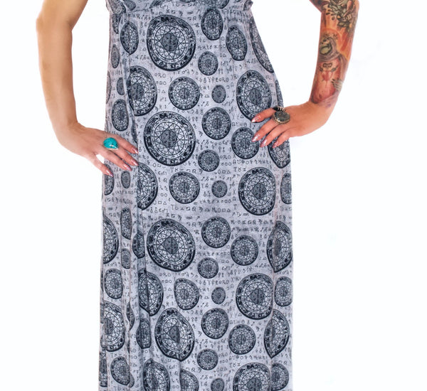 3206 Astrological Wheel Maxi Dress - XS & 1X Only!