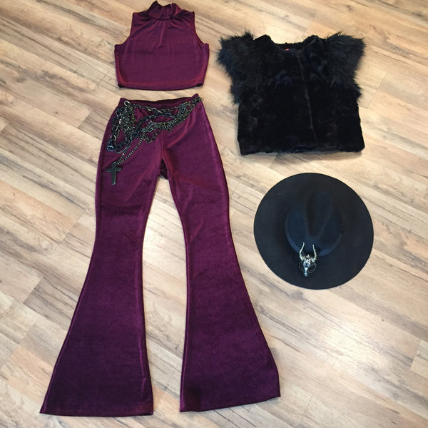 3397 Burgundy Velvet Bell Bottoms