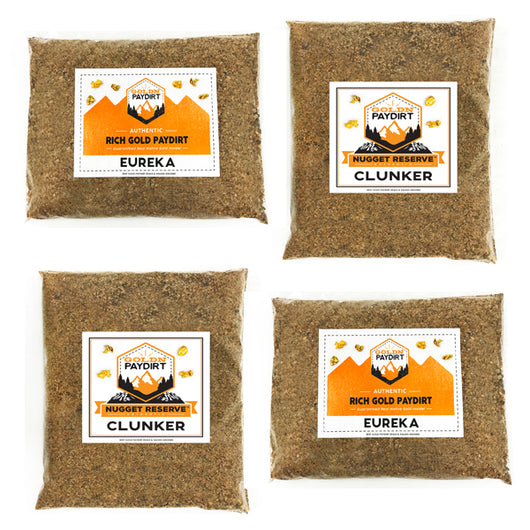 2 'CLUNKER' & 2 'EUREKA' GOLD Panning Paydirt BUNDLE BAGS -Best PAYDIRT COMBINED