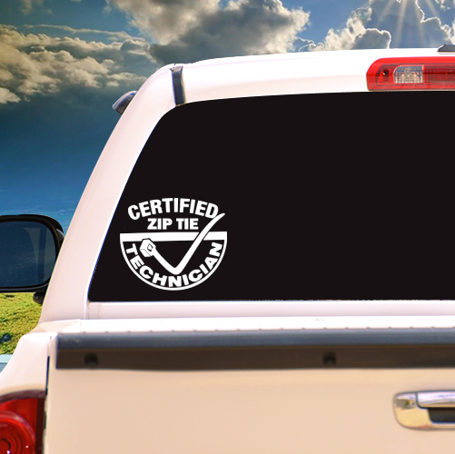Certified Zip Tie Technician Vinyl Sticker
