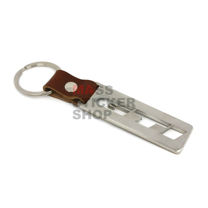 Stainless Steal/ Leather Strap Cut Out Keychain