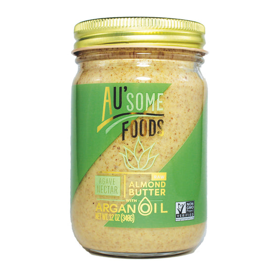 Best almond butter. Paleo. raw almond butter with argan oil. agave nectar. Au'some Foods