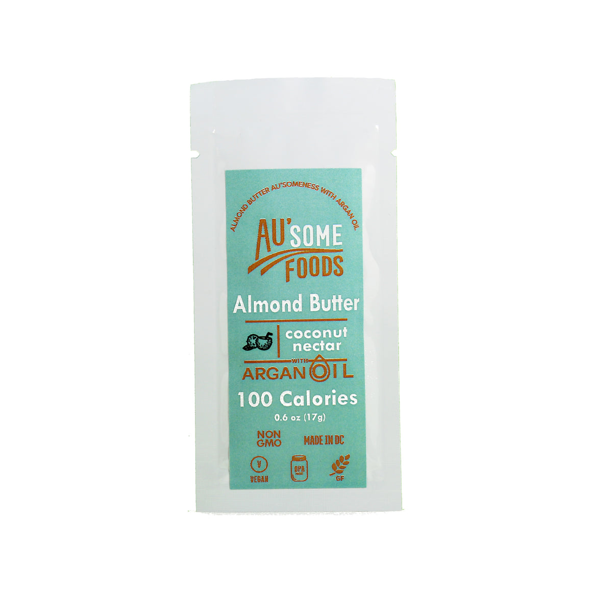 best almond butter. Au'some Foods almond butter with argan oil. coconut nectar. Au'some Foods. Single serve.