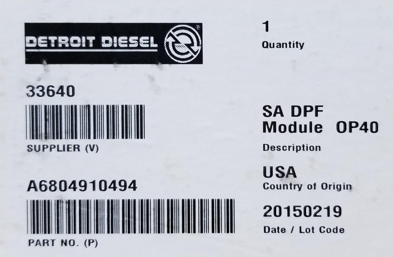 Detroit-Mercedes EA0004903692 / A0004903692 bar code