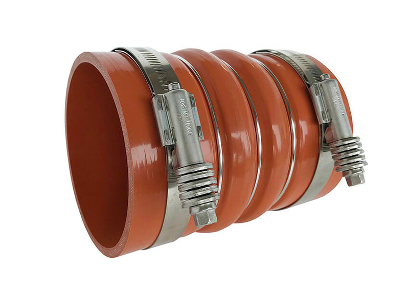 Redline Emissions Products Charge Air Cooler Hot Side Hose with Clamps (OEM 7715-0002 / RED RLH4006) angled with clamps