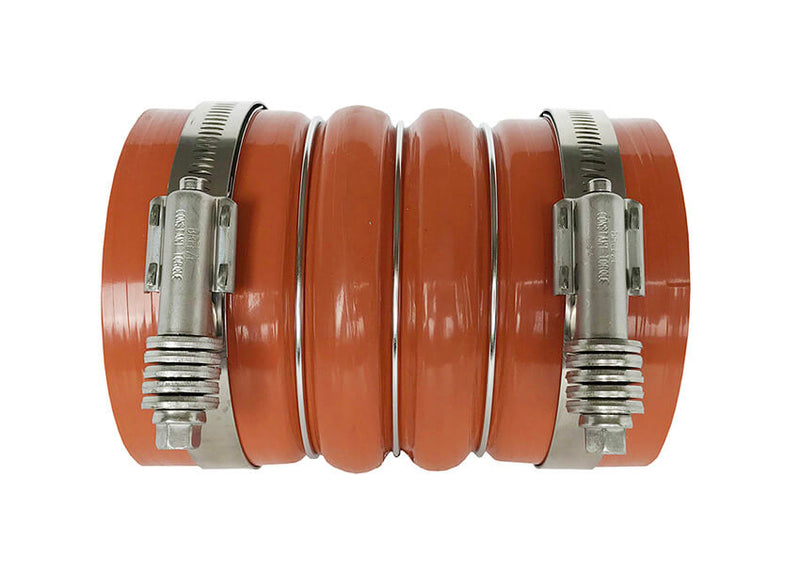 Redline Emissions Products Charge Air Cooler Hot Side Hose with Clamps (OEM 7715-0002 / RED RLH4006) side with clamps
