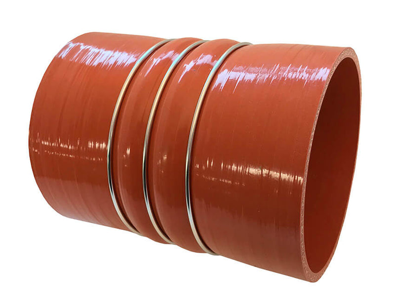 Redline Emissions Products Charge Air Cooler Hot Side Hose with Clamps (OEM 7742-0001 / RED RLH4506) angled view