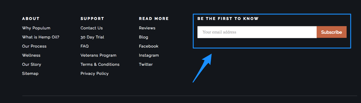 how to sign up for Populum newsletter
