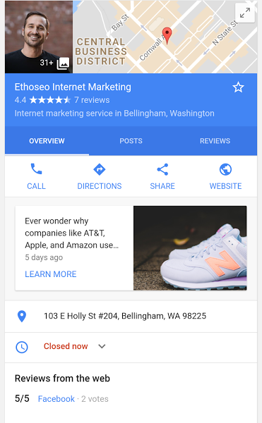 Google Posts on Mobile