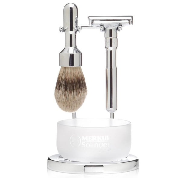 Merkur Futur Safety Razor & Silvertip 4-Piece Set Polished Chrome