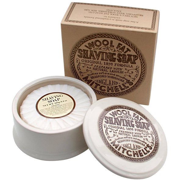 Mitchell's Wool Fat Shaving Soap & Dish 125g