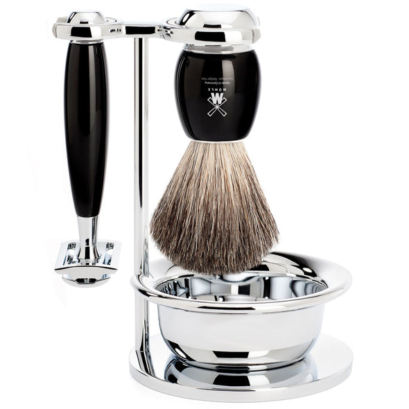 Muhle Vivo Safety Razor & Pure Badger 4-Piece Set Black Resin